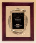 Rosewood Piano Finish Frame Plaque with Cast Relief Achievement Award Trophies