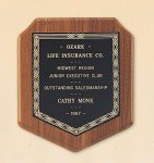 American Walnut Shield Plaque with a Black Brass Plate. Achievement Award Trophies