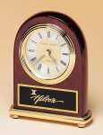 Rosewood Piano Finish Desk Clock on a Brass Base Achievement Award Trophies