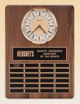 American Walnut Vertical Wall Clock / Perpetual Plaque Achievement Award Trophies
