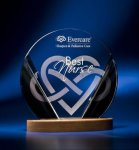 Black and Clear Circular Award on Wooden Base Achievement Award Trophies