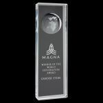 Clear Crystal Rectangle with Globe Achievement Awards