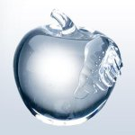 Molten Glass Apple Clear Leaf Boss Gift Awards