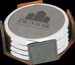 Gray Leatherette Round Coaster Set with Silver Edge Boss Gift Awards