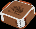 Dark Brown Leatherette Square Coaster Set with Silver Edge Boss Gift Awards