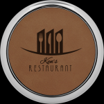 Dark Brown Leatherette Round Coaster with Silver Edge Boss Gift Awards