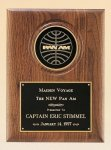 American Walnut Plaque with 4 Engravable Disk Employee Awards