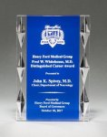 Acrylic Award with Blue Background and Jewel Accents Employee Awards