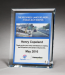 Personalize Your Glass Award with Four-Color Reproduction. Employee Awards