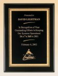 Black Piano Finish Plaque with Brass Plate Employee Awards