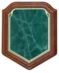 Shield Walnut Plaque with Green Marble Plate Employee Awards