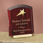 Piano Finish Wood with Brass Star Employee Awards