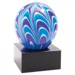 2 Tone Blue/White Sphere Art Glass Employee Awards