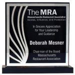 Deep Black Set Off By Silver On Acrylic  With A Black Screened Back Employee Awards