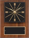 Walnut Wall Clock Plaque Employee Awards
