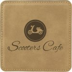 Light Brown Square Leatherette Coaster Employee Awards