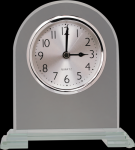 Arch Clear Glass Clock With Split Step Base Employee Awards