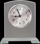 Square Arch Clear Glass Desk Clock with Split Step Base Employee Awards
