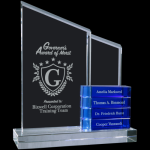 Crystal Perpetual Stand-up with Four Blue Blocks Employee Awards