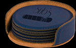 Blue Round Leatherette Coaster Set Employee Awards