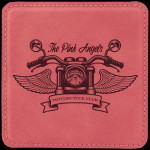 Pink Leatherette Square Coaster Employee Awards