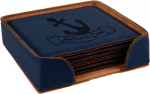 Blue  Leatherette Square  Coaster Set Employee Awards