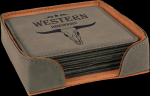 Gray Square Leatherette Coaster Sets Employee Awards