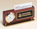 Rosewood Piano Finish Clock With Business Card Holder Executive Gift Awards