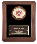 Genuine Walnut Frame With Fireman Clock Fire and Safety Awards