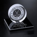 Hockey Puck on Black Glass Base Golf Awards