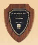 American Walnut Shield Plaque with a Black Brass Plate Patriotic Awards