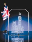 Crystal Edge Glass Clipped Rectangle with Brass Standing Pins Patriotic Awards