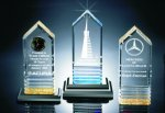 Fluted Bottom Beveled Tower Acrylic Award Religious Awards