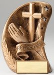 Curve Action Series Sculpted Antique Gold Religion Resin Trophy  Religious Awards