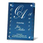 Clear Mirrored Backer with Blue Glass Sales Awards