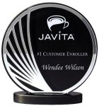 Deep Black Set Off By Silver On  Acrylic  With A Black Screened Back Sales Awards