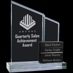 Crystal Perpetual Stand-up with Four Black Crystal Blocks Sales Awards