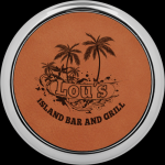 Rawhide Leatherette Round Coaster with Silver Edge Sales Awards