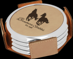 Light Brown Leatherette Round Coaster Set with Silver Edge Sales Awards