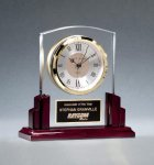 Glass Clock with Rosewood High Gloss Base Secretary Gift Awards