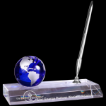 Blue Crystal Globe with Clear Base and Pen Secretary Gift Awards